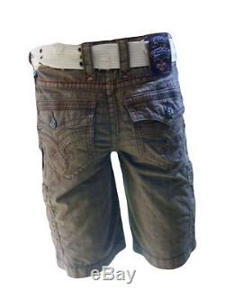 Rock Revival Belted Toffee Plaid Colored Shorts for Men's