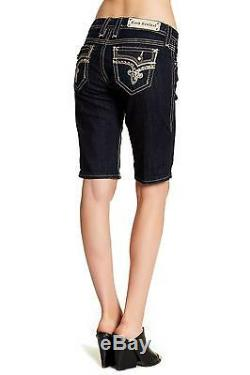 Rock Revival Betty Bermuda MID Rise Curvy Jean Shorts Bling Size 32 Fits 33 New