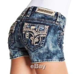 Rock Revival Betty Jean Shorts Denim Acid Wash Rhinestone Bling Size 28 New