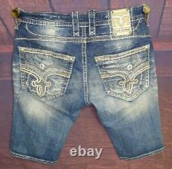 Rock Revival Buckle Distressed Stretch Men's Jeans Shorts Size 34