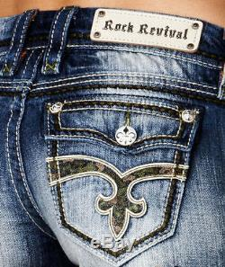 Rock Revival Camo & Leather FLAP Pockets Denim Jean Shorts WOMEN'S 31