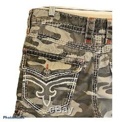 Rock Revival Camp Cargo Shorts Size 34 Well Constructed Stiching Detail
