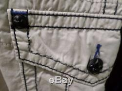 Rock Revival Cargo Shorts 32 men's new stone color with blue stitch & belt NEW