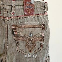 Rock Revival Cargo Shorts Size 38 Toffee Plaid RCM020