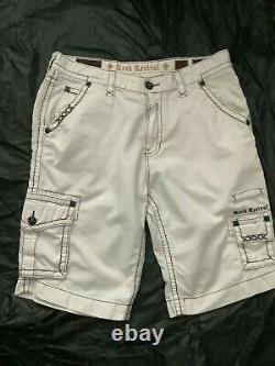 Rock Revival Classic White Shorts Mens Size 38 38/24 Never worn Washed LE Slim