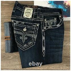 Rock Revival Colin Straight Mens Denim Jeans Size 33 Short Thick Stitch Dark Was
