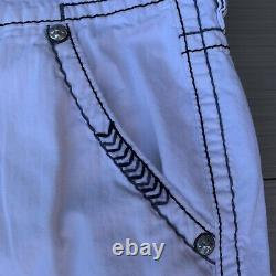 Rock Revival Denim Cargo Shorts Classic Contrast Stitching Embroidered Sz 38