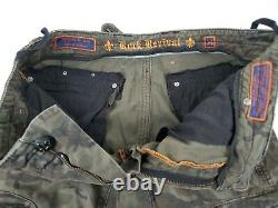 Rock Revival Grey Classic Camo Washed Cargo Shorts Embroidered Zip Pocket 34