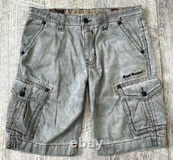 Rock Revival Grey Classic Camo Washed Cargo Shorts Embroidered Zip Pocket 36