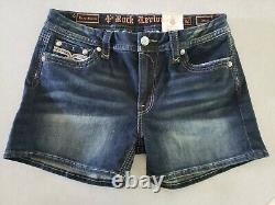 Rock Revival Iselin Easy Shorts Distressed Denim Womens Size 32 Bling Pockets