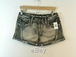 Rock Revival Janne 28 Moto Shorts Gray Distressed Womens New NWT Denim Jeans
