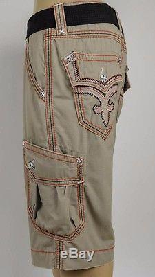 Rock Revival Jeans Mens Cargo Shorts KHAKI Black Red with Leather, 32 34 36 38
