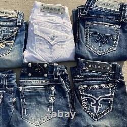 Rock Revival Jeans Miss Me Jeans Lot 24 25 28 Skinny Distressed Short Pre Owned