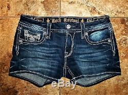 Rock Revival Jeans Sherry Shorts Size 29 All Over Rhinestone Bling Worn Twice