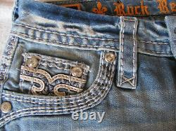 Rock Revival Jelina Cut-off Shorts-Thick White Stitch-Crystals -Size 23- NWT