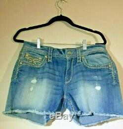 Rock Revival Jelina Distressed Jean Shorts Size 32 Leather Sequin Bling Pocket