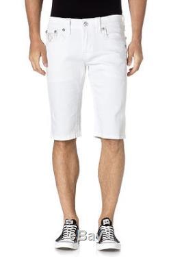 Rock Revival Men Cargo Shorts (RCM095-6) White with Black Tan Stitch New Sz 29