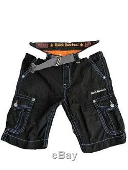 Rock Revival Men Shorts Size 31 Black with Blue stitching