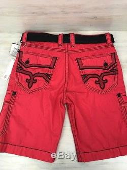 Rock Revival Men's Cargo Shorts Size 34 Red With Belt New RCM1130-2