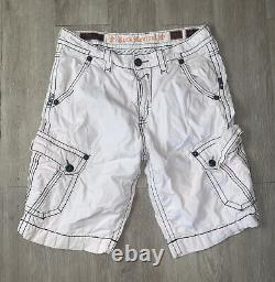 Rock Revival Men's Distressed White Cargo Shorts Embroidered Pockets sz 34