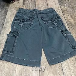 Rock Revival Mens 31 Green Cargo Thick Stitch Cargo Shorts