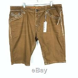 Rock Revival Mens 44 Rinks Brown Shorts Distressed Logo Flap Pockets Stretch NEW