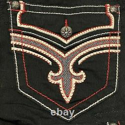 Rock Revival Mens Black Belted Cotton Cargo Shorts Embroidered Pockets Size 32