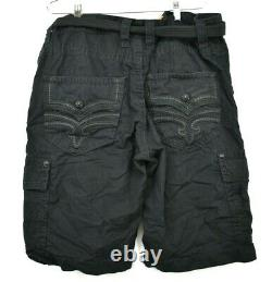 Rock Revival Mens Black Classic Cotton Belted Button & Zip Casual Cargo Short 40