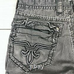 Rock Revival Mens Classic Cargo Shorts Gray Studded 32Wx24L (32x12) Embroidered