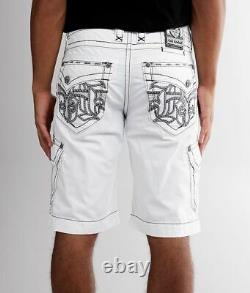 Rock Revival Mens Classic White Cotton Cargo Shorts Embroidered Pockets Size 38