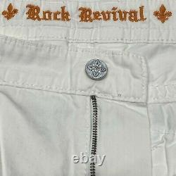 Rock Revival Mens Classic White Cotton Cargo Shorts Embroidered Pockets Size 42