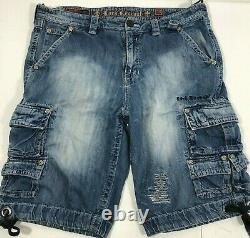 Rock Revival Mens Distressed Style Blue Jean Baggy Cargo Shorts Size 38W / 23L