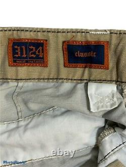 Rock Revival Mens Khaki Classic 31 24 Cargo Shorts Thick Contrast Stitching
