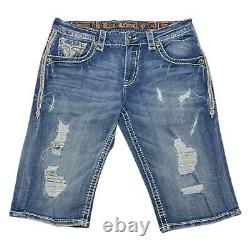 Rock Revival Mens Strom Stretch Shorts Distressed Embroidered Pockets Size 34