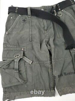 Rock Revival Military Green Cargo Shorts Embroidered Zip Pocket With Belt 34