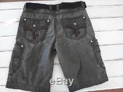 Rock Revival NEW Gunmetal Mens Size 36 Belted Cargo Shorts NWT'S