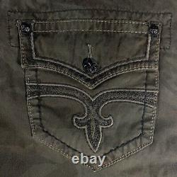 Rock Revival Olive Camo Shorts 36x24 Cargo USA Flag on Pocket with Belt RCM072-5A