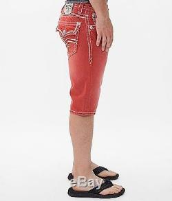 Rock Revival Stanley H43 Shorts Brand New Red Free Shipping