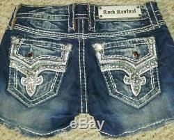 Rock Revival Stretch Shorts Flap Pockets 25 LN! Lots of Bling
