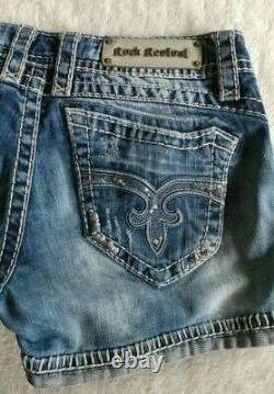 Rock Revival Women's Amy Jean Shorts Cuff Stitch Accent Perfect Size 31