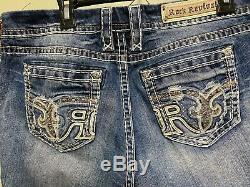Rock Revival Women's Distressed Blue Denim Faine Stretch Easy Short Size 33