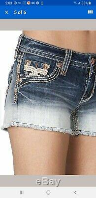 Rock Revival Women's Shorts Angie Size 24 Blue Distressed Denim New
