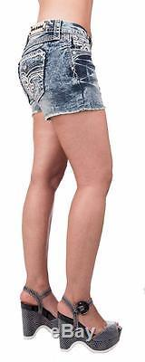 Rock Revival Women's Shorts Light Wash Crystal Studs New With Tags Clair H400 NW