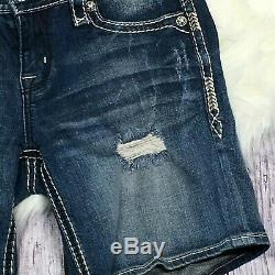 Rock Revival Womens Distressed Easy Shorts Denim Contrast Stitching Size 28 Blue
