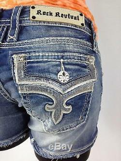 Rock Revival Womens Ena Jean Shorts Denim Leather Sequin Bling Flap Pockets New
