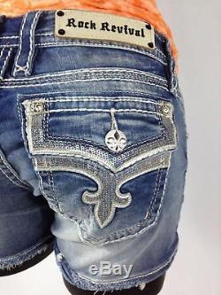 Rock Revival Womens Ena Jean Shorts Denim Leather Sequin Bling Flap Size 27 New