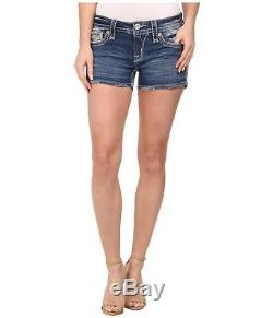 Rock Revival Womens Ena Jean Shorts Denim Leather Sequin Bling Flap Size 29 New
