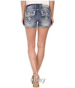 Rock Revival Womens Ena Jean Shorts Denim Leather Sequin Bling Flap Size 30 New