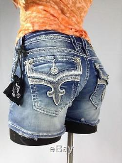 Rock Revival Womens Ena Jean Shorts Leather Sequin Flap Bling 26 27 28 29 New