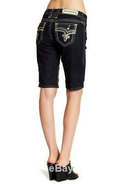 Rock Revival Womens MID Rise Curvy Easy Bermuda Jeans Shorts Bling Crystal New